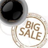 Priorità bassa del caffè con il bollo Fotografia Stock