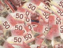 Priorità bassa del canadese cinquanta fatture del dollaro Fotografia Stock Libera da Diritti