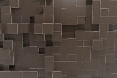 Priorità bassa del cubo di tecnologia di colore marrone di guarnizione Fotografie Stock