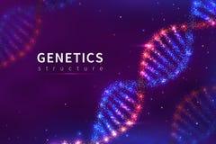 Priorità bassa del DNA (tipo 05) Struttura della genetica, tecnologia di biologia manifesto di vettore del modello del DNA del ge royalty illustrazione gratis