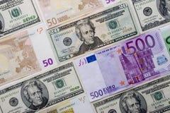 Priorità bassa del dollaro e dell'euro Fotografie Stock