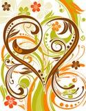 Priorità bassa del fiore con cuore illustrazione vettoriale