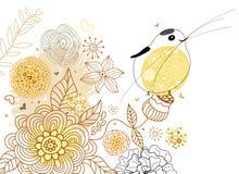 Priorità bassa del fiore con l'uccello Fotografia Stock Libera da Diritti