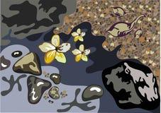 Priorità bassa del fiore, della sabbia e dell'acqua Fotografia Stock Libera da Diritti