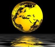Priorità bassa del globo dell'oro Immagini Stock