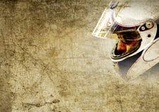 Priorità bassa del grunge del casco e del fronte della motocicletta Immagine Stock
