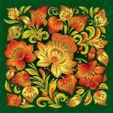 Priorità bassa del grunge di Abctract con l'ornamento floreale Fotografie Stock Libere da Diritti