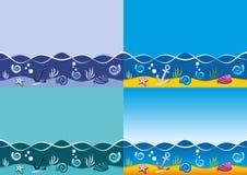 Priorità bassa del mare, reticolo senza giunte di vettore marino Immagini Stock