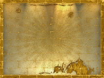 Priorità bassa del mattone di Grunge con l'indicatore luminoso dell'oro Immagine Stock Libera da Diritti
