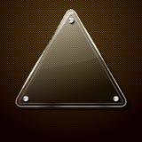 Priorità bassa del metallo con il blocco per grafici di vetro del triangolo Fotografie Stock Libere da Diritti