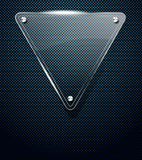 Priorità bassa del metallo con il blocco per grafici di vetro del triangolo Immagine Stock Libera da Diritti