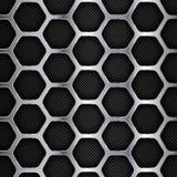 Priorità bassa del metallo Esagonale, Honey Comb Stainless Steel Mesh Illustrazione di vettore Immagine Stock