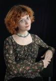Priorità bassa del nero del ritratto di Redhead fotografia stock libera da diritti