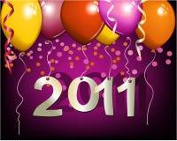 Priorità bassa del nuovo anno con gli aerostati Immagine Stock