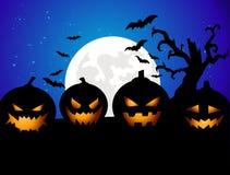 Priorità bassa del partito di Halloween con le zucche Immagini Stock