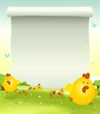 Priorità bassa del pollo di Pasqua della sorgente Fotografie Stock Libere da Diritti