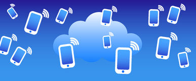 Priorità bassa del telefono della nube illustrazione di stock
