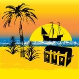 Priorità bassa del tesoro del pirata Fotografie Stock Libere da Diritti