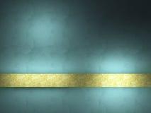 Priorità bassa del turchese con il nastro dell'oro. Fotografie Stock Libere da Diritti