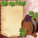 Priorità bassa del vino con l'uva, il barilotto ed il documento Immagini Stock