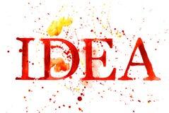 Priorità bassa dell'acquerello con la parola IDEA Fotografie Stock