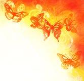 Priorità bassa dell'acquerello con le farfalle Illustrazione di Stock