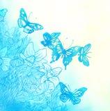 Priorità bassa dell'acquerello con le farfalle ed i fiori Royalty Illustrazione gratis
