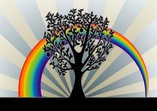 Priorità bassa dell'albero con il Rainbow Immagini Stock Libere da Diritti