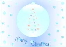 Priorità bassa dell'albero di Natale all'interno dell'fiocchi di neve Immagine Stock Libera da Diritti