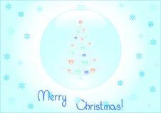 Priorità bassa dell'albero di Natale all'interno dell'fiocchi di neve Immagini Stock Libere da Diritti