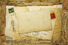Priorità bassa dell'annata dalle vecchie cartoline Immagine Stock Libera da Diritti
