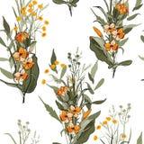 Priorità bassa dell'annata wallpaper Flowe isolato realistico di fioritura illustrazione di stock