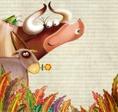 Priorità bassa dell'azienda agricola con gli animali illustrazione di stock