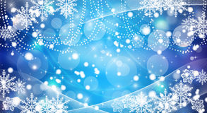Priorità bassa dell'azzurro dei fiocchi di neve di natale Immagine Stock Libera da Diritti