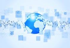 Priorità bassa dell'azzurro di codice binario Fotografia Stock Libera da Diritti