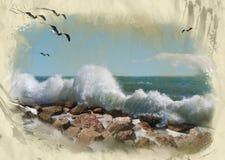 Priorità bassa dell'estratto della tempesta del mare Fotografia Stock