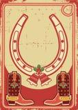 Priorità bassa della cartolina di Natale con il ferro di cavallo fortunato Immagine Stock Libera da Diritti