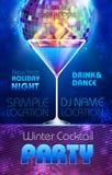 Priorità bassa della discoteca Manifesto del cocktail di inverno Fotografie Stock Libere da Diritti