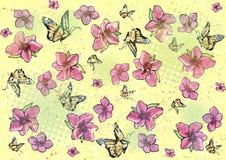 Priorità bassa della farfalla & del fiore - colore giallo Illustrazione Vettoriale