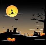 Priorità bassa della luna piena di Halloween Fotografie Stock Libere da Diritti