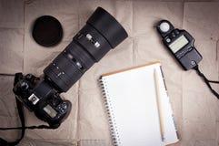 Priorità bassa della macchina fotografica di fotographia Fotografia Stock