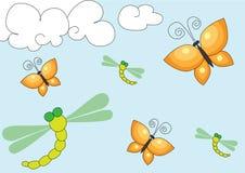 Priorità bassa della mosca del drago e della farfalla Fotografie Stock