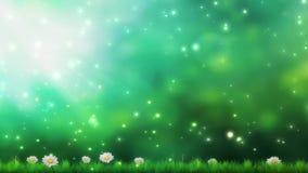 Priorità bassa della natura Bello lustro di Sun con il salto sulle foglie verdi e sui fiori dell'albero del vento Bokeh astratto  illustrazione di stock