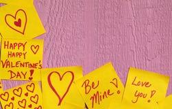 Priorità bassa della nota del biglietto di S. Valentino Fotografia Stock Libera da Diritti