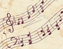 Priorità bassa della nota musicale sul documento Fotografia Stock