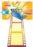 Priorità bassa della scheda di clip, della pellicola e della stella Fotografie Stock