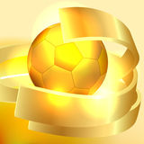 Priorità bassa della sfera di calcio dell'oro Immagini Stock