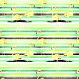 Priorità bassa della spiaggia di estate Modello senza cuciture dell'acquerello Motivo tropicale dipinto a mano di estate con il f Immagini Stock Libere da Diritti