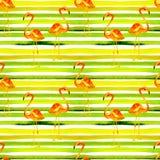Priorità bassa della spiaggia di estate Modello senza cuciture dell'acquerello Motivo tropicale dipinto a mano di estate con il f Fotografia Stock Libera da Diritti