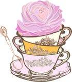Priorità bassa della tazza di tè con il fiore Fotografia Stock Libera da Diritti